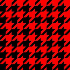 One Inch Red and Black Houndstooth Check
