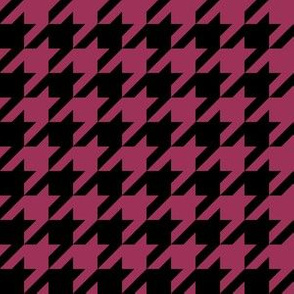 One Inch Sangria Pink and Black Houndstooth Check