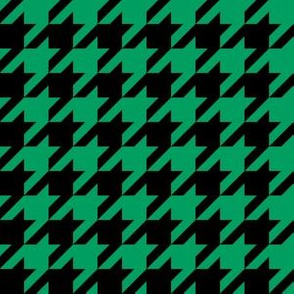 One Inch Shamrock Green and Black Houndstooth Check