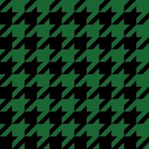 One Inch Spruce Green and Black Houndstooth Check