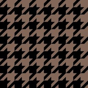 One Inch Taupe Brown and Black Houndstooth Check