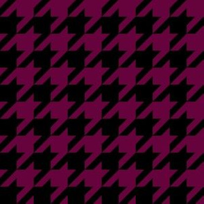 One Inch Tyrian Purple and Black Houndstooth Check