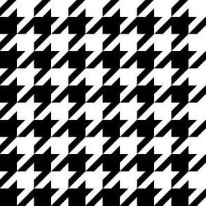 One Inch Black and White Houndstooth Check