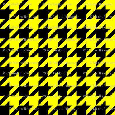 One Inch Yellow and Black Houndstooth Check