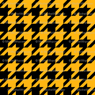 One Inch Yellow Gold and Black Houndstooth Check