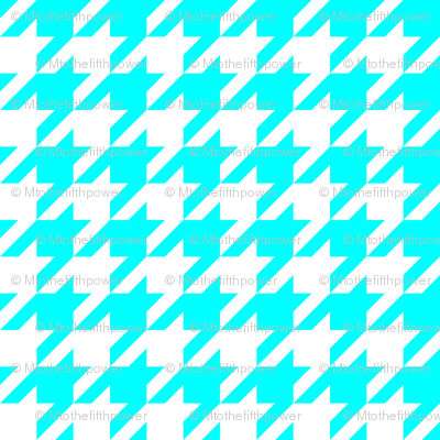 One Inch Aqua Blue and White Houndstooth Check