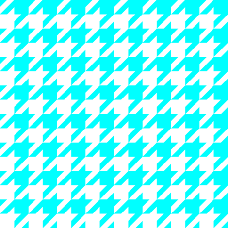 One Inch Aqua Blue and White Houndstooth Check fabric by mtothefifthpower on Spoonflower - custom fabric