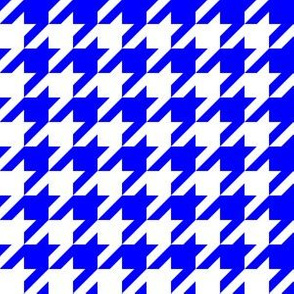 One Inch Blue and White Houndstooth Check