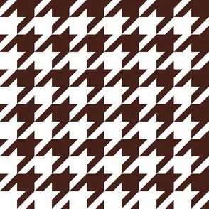 One Inch Brown and White Houndstooth Check