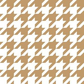 One Inch Camel Brown and White Houndstooth Check