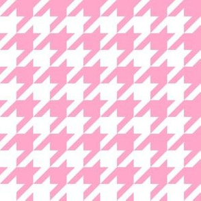 One Inch Carnation Pink and White Houndstooth Check