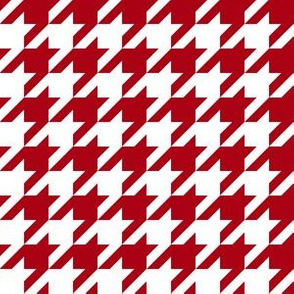 One Inch Dark Red and White Houndstooth Check