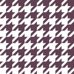 One Inch Eggplant Purple and White Houndstooth Check