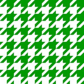 One Inch Christmas Green and White Houndstooth Check