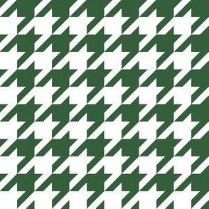 One Inch Hunter Green and White Houndstooth Check