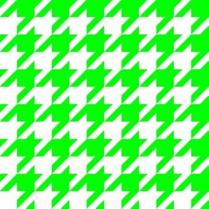 One Inch Lime Green and White Houndstooth Check