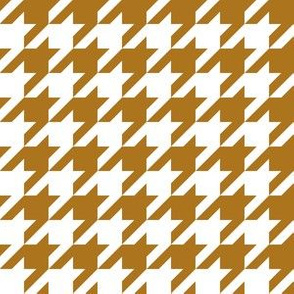 One Inch Matte Antique Gold and White Houndstooth Check