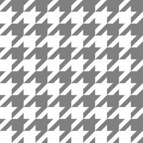 One Inch Medium Gray and White Houndstooth Check