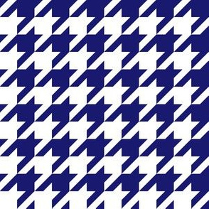 One Inch Midnight Blue and White Houndstooth Check