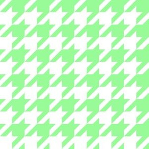 One Inch Mint Green and White Houndstooth Check