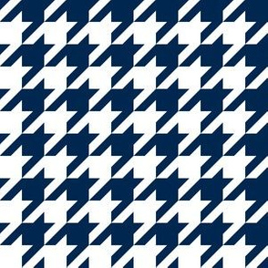 One Inch Navy Blue and White Houndstooth Check