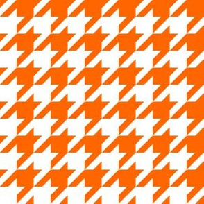 One Inch Orange and White Houndstooth Check