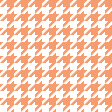 One Inch Peach and White Houndstooth Check fabric by mtothefifthpower on Spoonflower - custom fabric