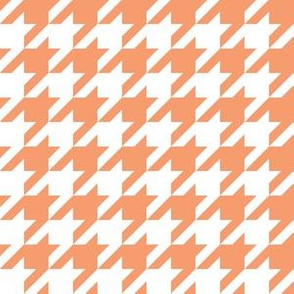One Inch Peach and White Houndstooth Check