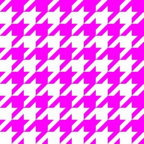 One Inch Pink and White Houndstooth Check