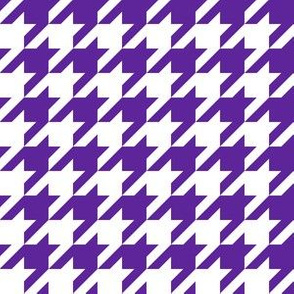 One Inch Purple and White Houndstooth Check