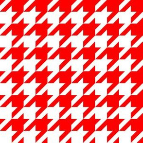 One Inch Red and White Houndstooth Check