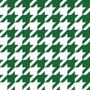One Inch Spruce Green and White Houndstooth Check