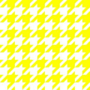 One Inch Yellow and White Houndstooth Check