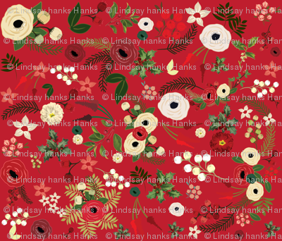 Red Vintage Christmas Floral SMALL
