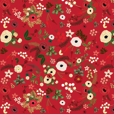 Red Vintage Christmas Floral SMALL fabric by twodreamsshop on Spoonflower - custom fabric