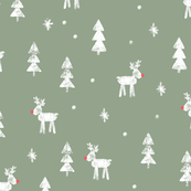 Rudolf with trees and snow (sage)