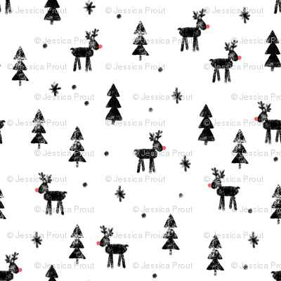 Rudolf with trees and snow (black)