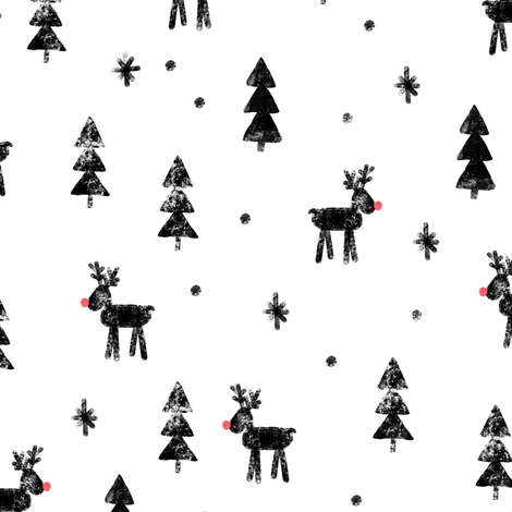 Rudolf with trees and snow (black) fabric by littlearrowdesign on Spoonflower - custom fabric