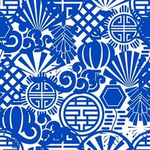 Chinese Symbols in Blue Porcelain