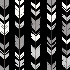 Arrow Feathers - Black, grey and white