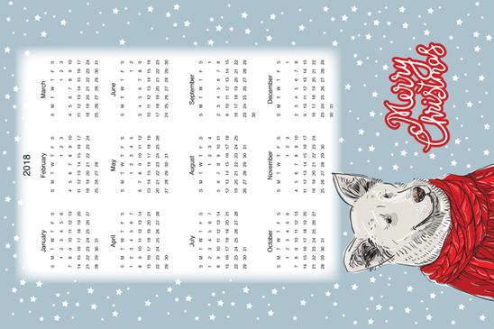 2018 calendar fabric by ekaterinap on Spoonflower - custom fabric