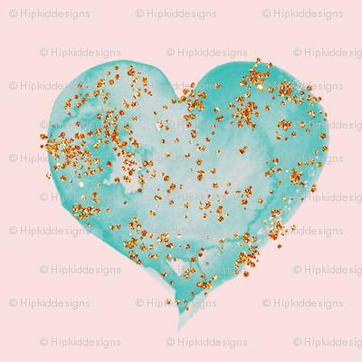 Teal Glitter Hearts on Blush