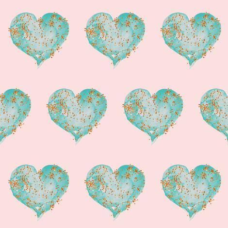 Teal Glitter Hearts on Blush fabric by hipkiddesigns on Spoonflower - custom fabric