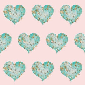 Teal Glitter Hearts on Blush