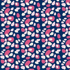 cheetah spots - pink cream on navy - MED525