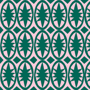 Geometric Acanthus in deep emerald green and pink