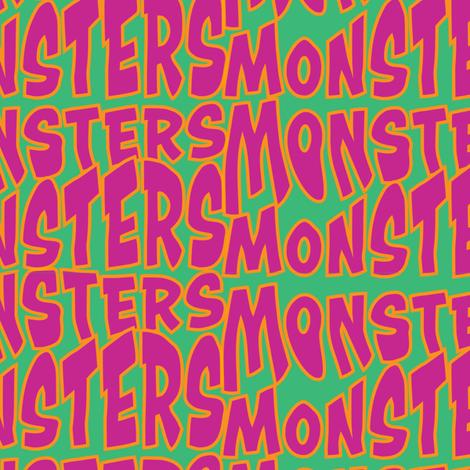 Monster_font_purple_on_green_ fabric by edithschmidtartllc on Spoonflower - custom fabric
