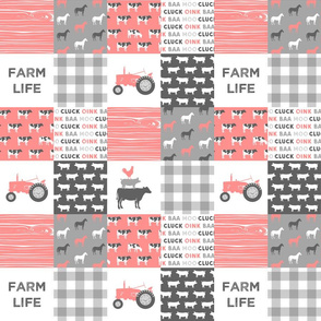 "(3"" small scale) farm life wholecloth - pink coral woodgrain"
