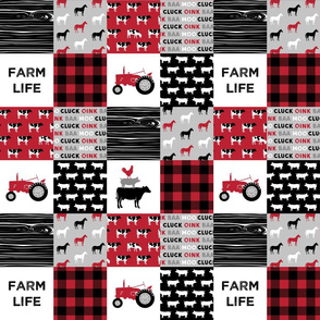 "(3"" small scale) farm life wholecloth - red and black woodgrain"
