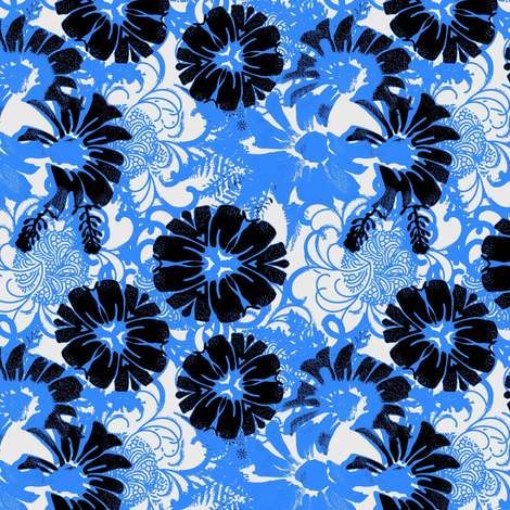 Retro Daisy Blue fabric by joanmclemore on Spoonflower - custom fabric